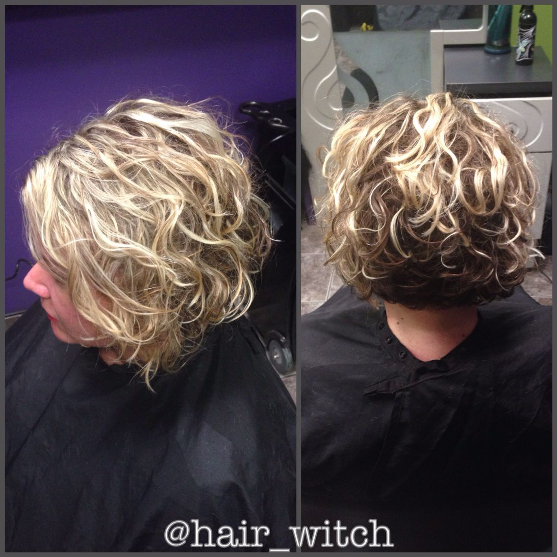 Natural curly short inverted blonde bob, styled with