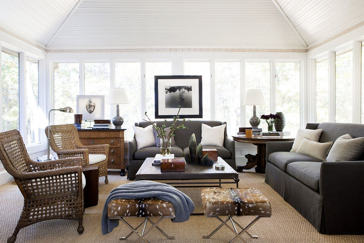 Lake House Great Room Living Family Room Media Contemporary Rustic ...