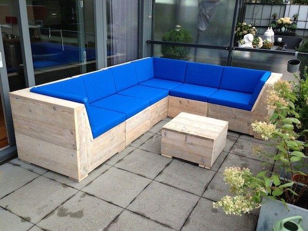 Steigerhouten loungebank met open aanzetstuk ibiza tuin