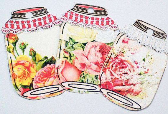 Rose Jar Tags  Variety Set 9  Flowers In Jars  Gift Tags