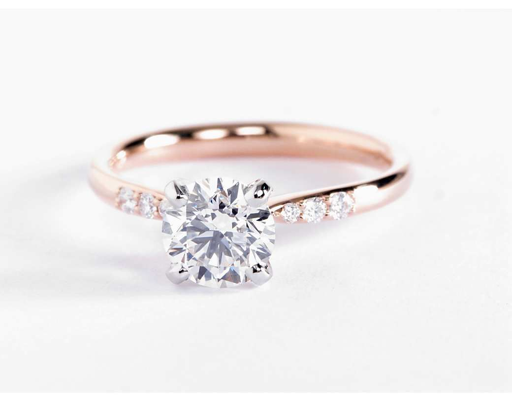 Petite Diamond Engagement Ring in 14k Rose Gold 110 ct tw
