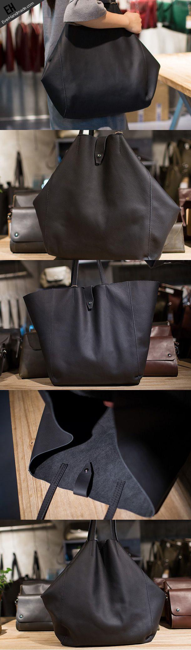 Handmade Leather vintage Big Large tote bag coffee black for women leather shoulder bag