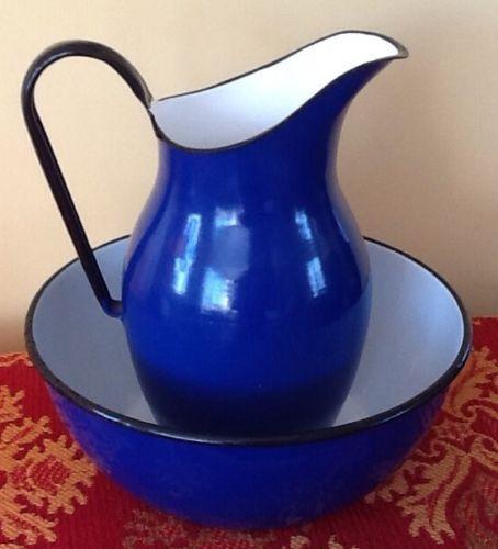 Vintage Enamelware Graniteware Cobalt Basin and Pitcher 15 Poland ...
