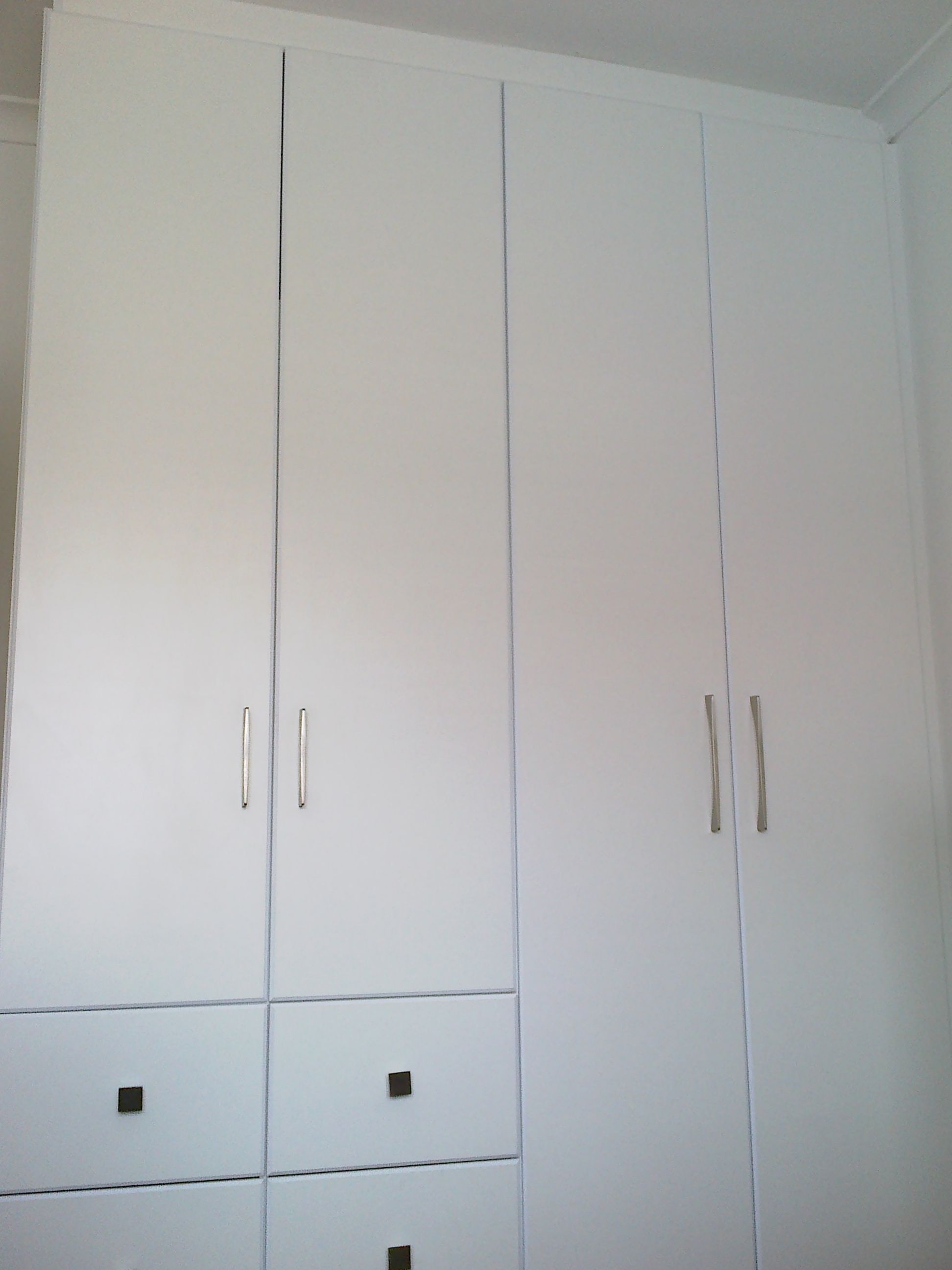 Created By Dimension Cabinets Four Door Bedroom Cupboard In White Melamine With Hanging And Shelving Cupboard Modern Kitchen Cabinet Design Melamine Shelving
