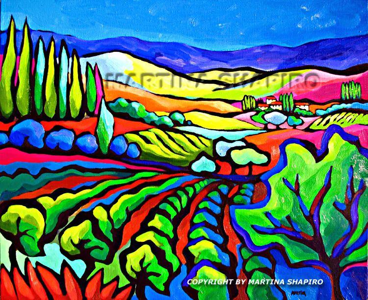Abstract Vineyard painting original oil by Martina Shapiro.