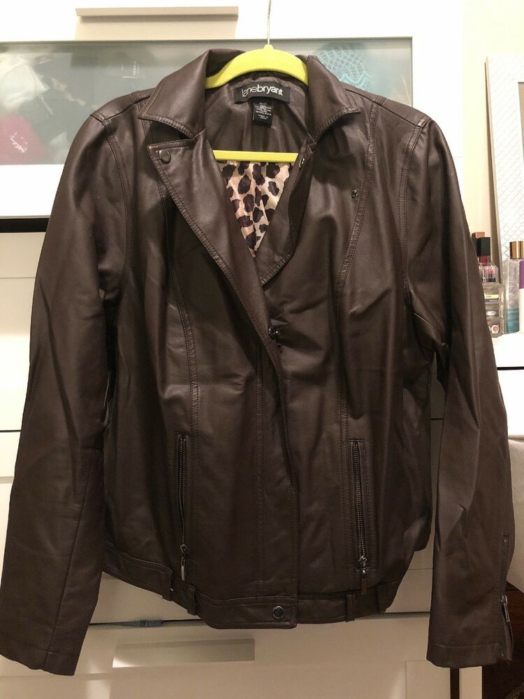 f908cb62f3d Womens Lane Bryant Size 18 20 Brown Leather Moto Jacket Leopard Print Lined   fashion  clothing  shoes  accessories  womensclothing  coatsjacketsvests ( ebay ...