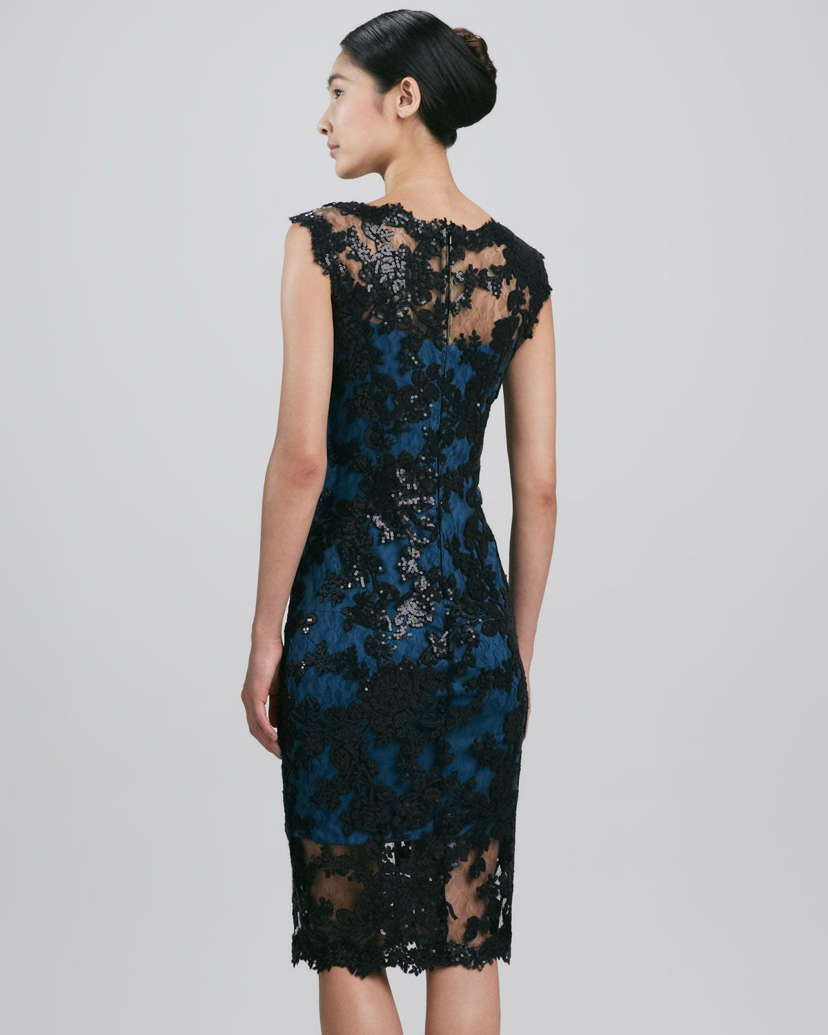 Tadashi shoji Sleeveless Scalloped Lace Cocktail Dress in Blue ...