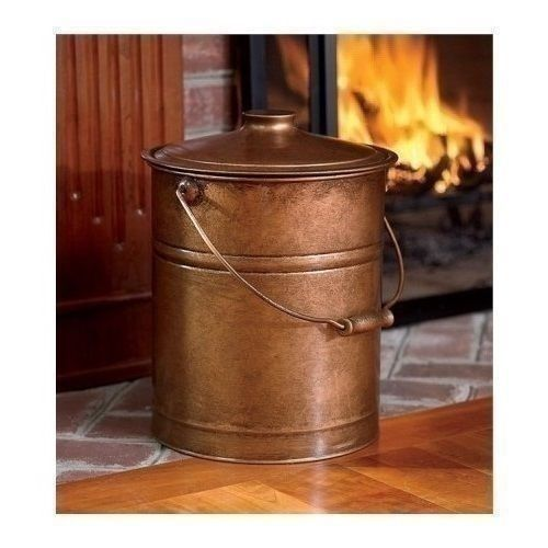 Vintage Fire Place Ash Bucket Coal Hearth Handle Storage Pail Aluminum Lid Clean Vintagefireplaceashbucket Vintage Fireplace Poker Vintage Fireplace Hearth