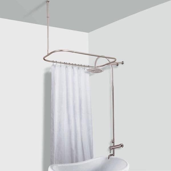 Rustproof Hoop Shower Rod For Clawfoot Tub Chrome Grey Finish
