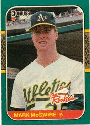 1987 Donruss Rookies Baseball Card Card 1 Mark Mcgwire Oakland A S Baseball Cards Baseball Card Values American Baseball League