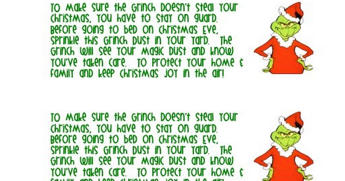 Grinch Dust Note Pdf Grinch Grinch Christmas Christmas Lesson Plan