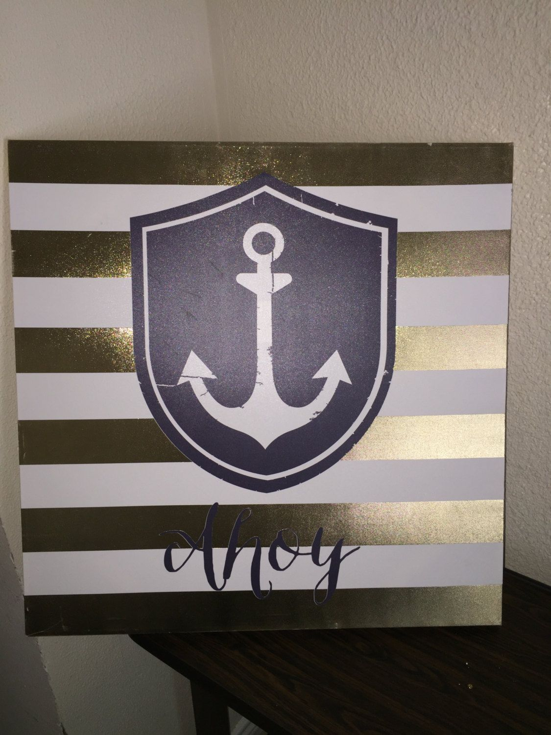 Nautical Anchor On Canvas Screen Printed Anchor On Canvas Wall Art Vintage Nautical Wall Decor Ahoy Wall Decor Home Wall Accent With Images Prints Canvas Wall Art Art