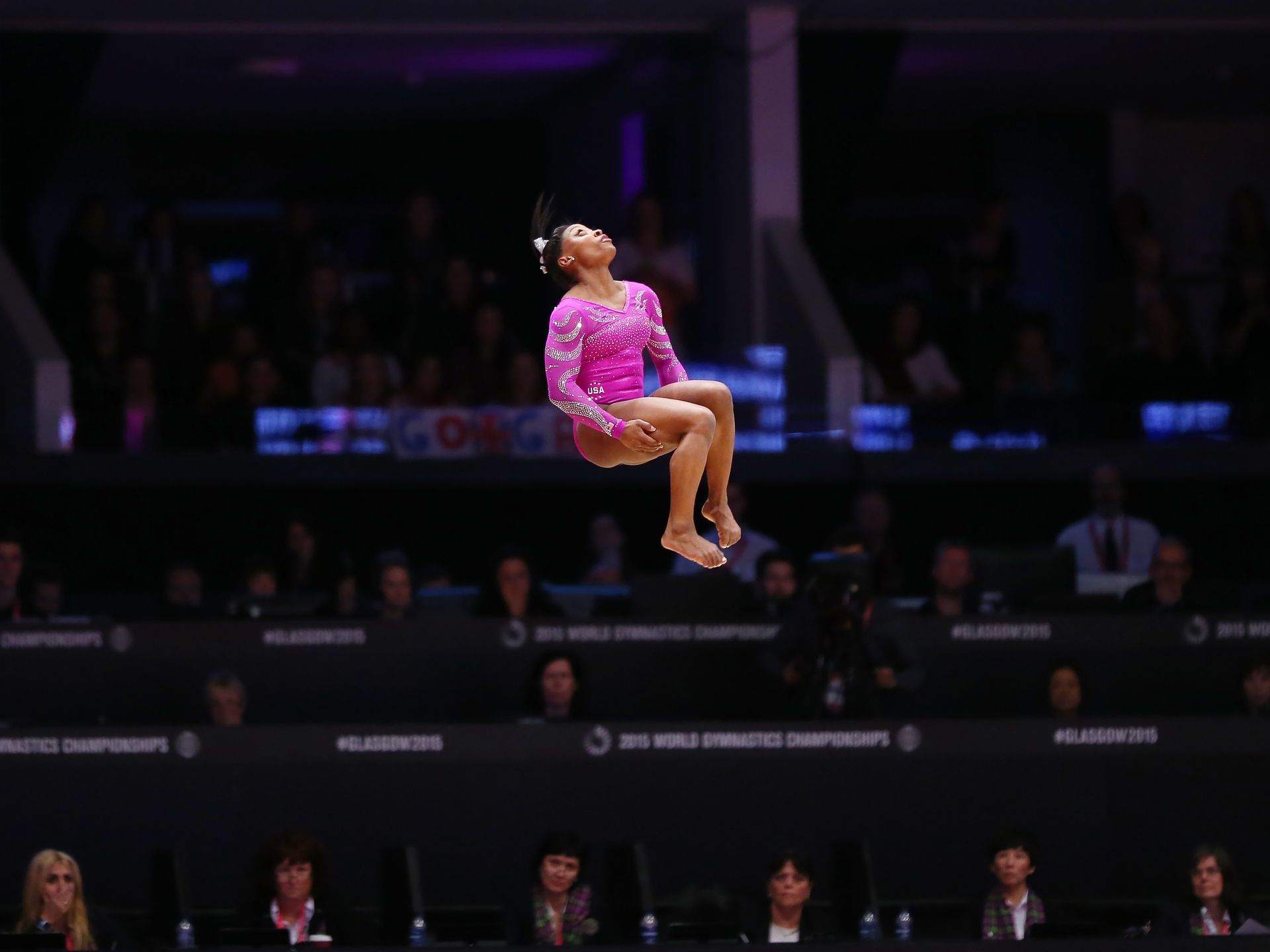 American Simone Biles performs her floor routine during qualifying