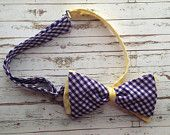 Fully Adjustable Mens Bowtie in Purple and Yellow Gingham!! Only $14.99!!!!  Perfect for East Carolina University! Or even Louisiana State University!  www.etsy.com/shop/modebows