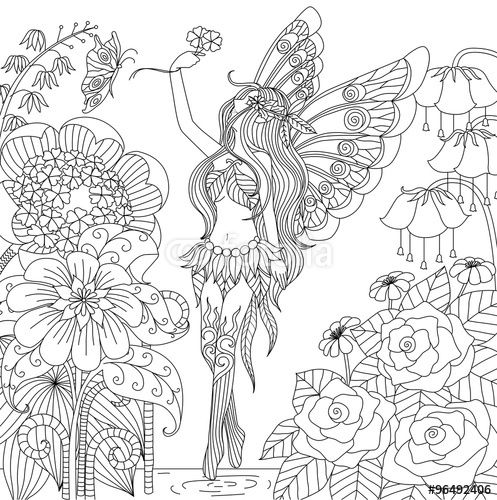 Vector: Hand drawn fairy flying in flower land for color book for ...