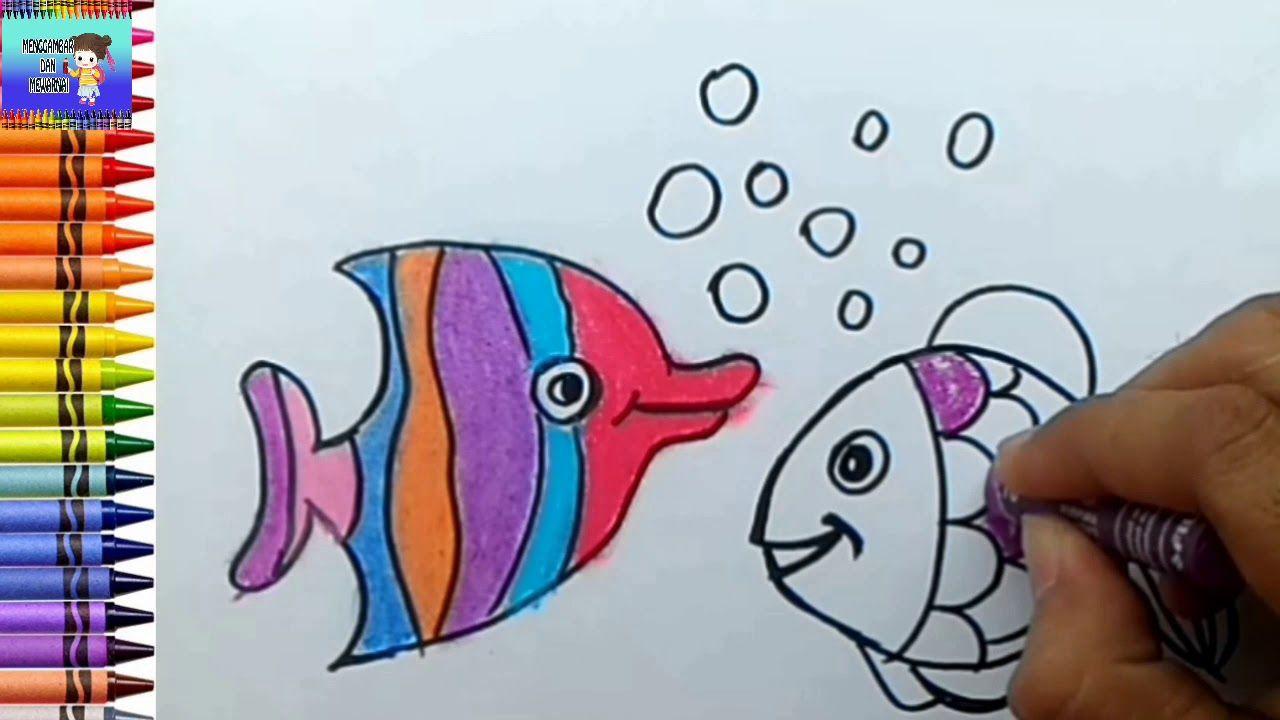 menggambar dan mewarnai ikan berwarna