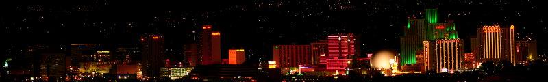 Panoramic Photographic Print of the Reno Skyline at Night from Brad Brighton (photography). $800.00 Click to visit!
