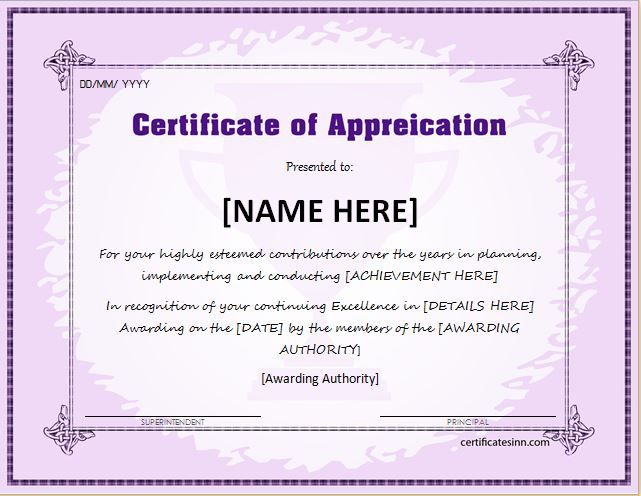 Certificate of Appreciation for MS Word DOWNLOAD at