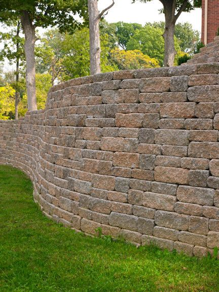 Color Versa Lok Weathered Mosaic Wall System In The Midwest Block Sandstone Looks Like The Canyo Landscaping Retaining Walls Landscape Stone Retaining Wall
