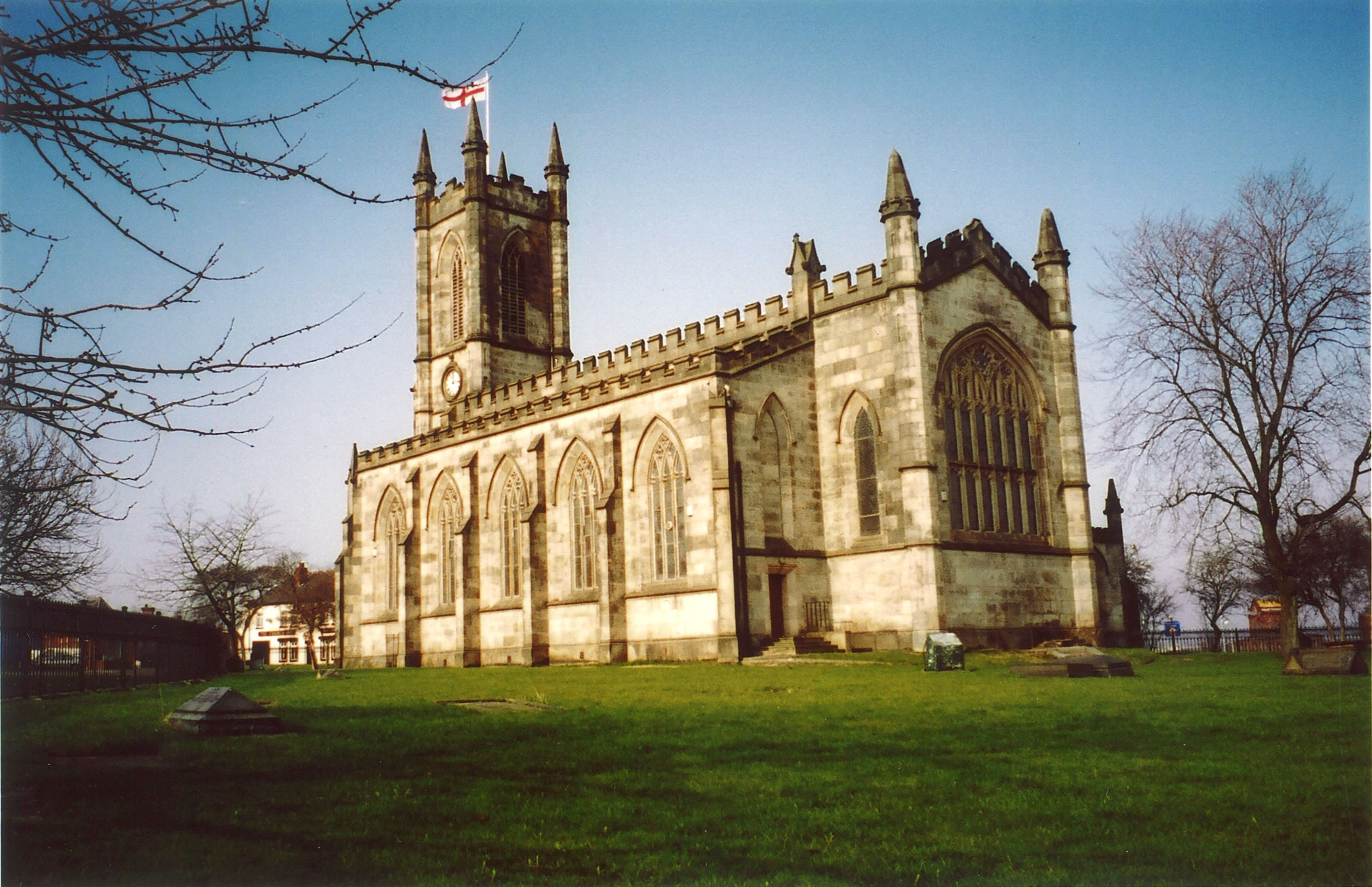St. Thomas' Church in Salford, England where Jonathan Green and his wife Betsy are buried.