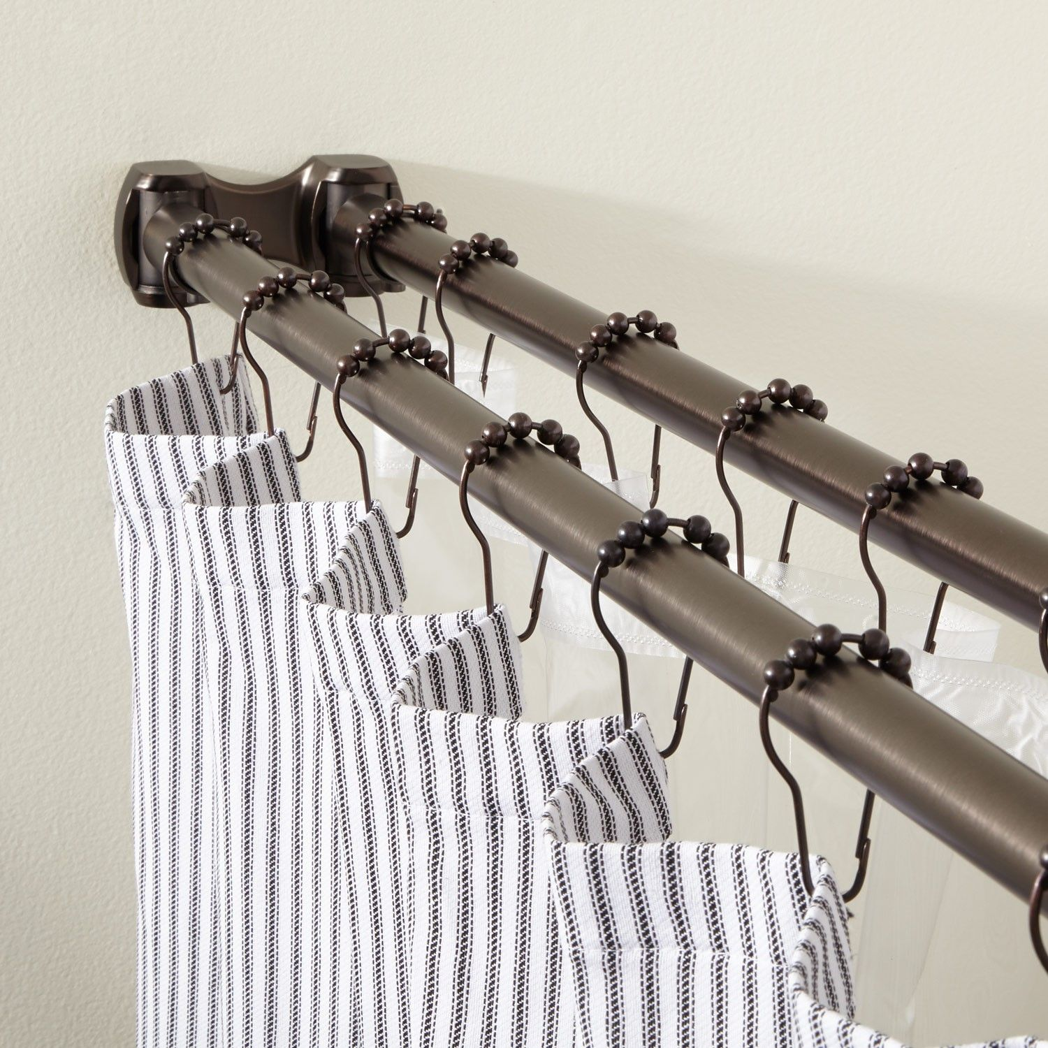 Straight Solid Brass Commercial Grade Double Shower Curtain Rod