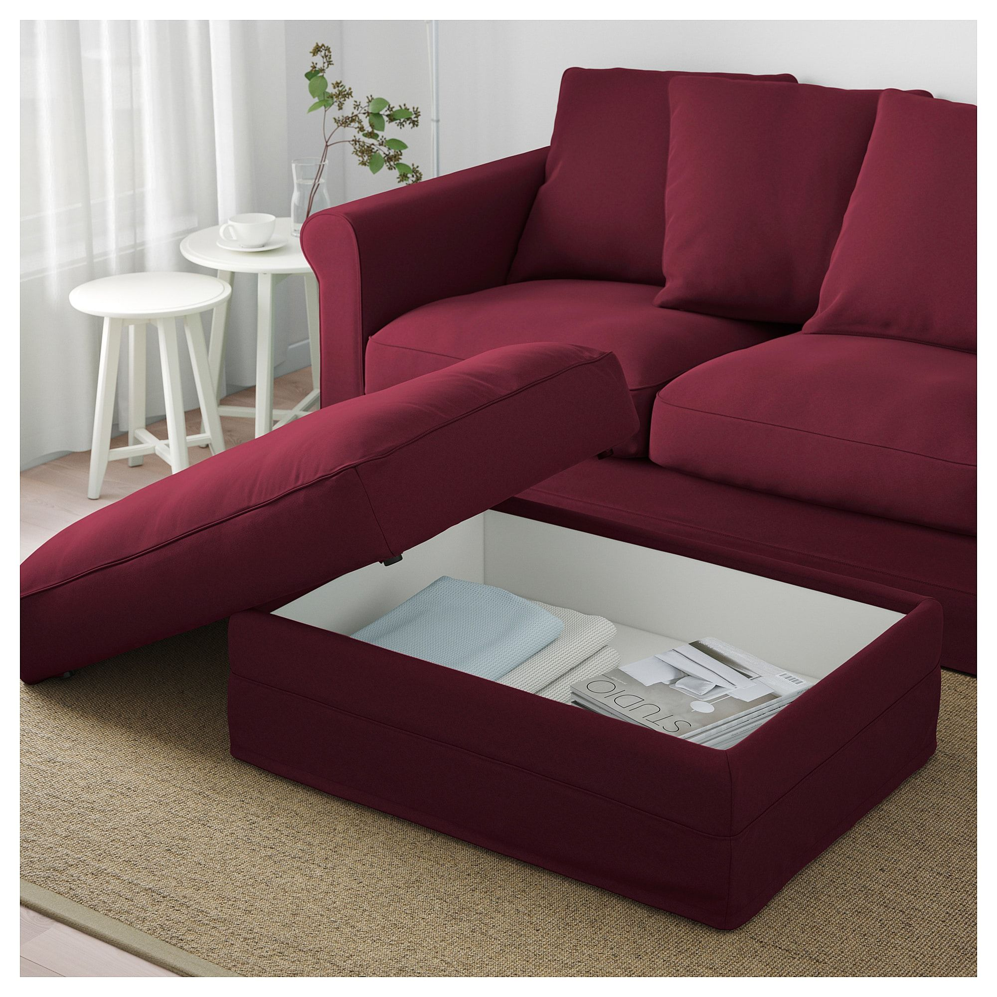 Awe Inspiring Ikea Gronlid Ljungen Dark Red Ottoman With Storage In 2019 Caraccident5 Cool Chair Designs And Ideas Caraccident5Info