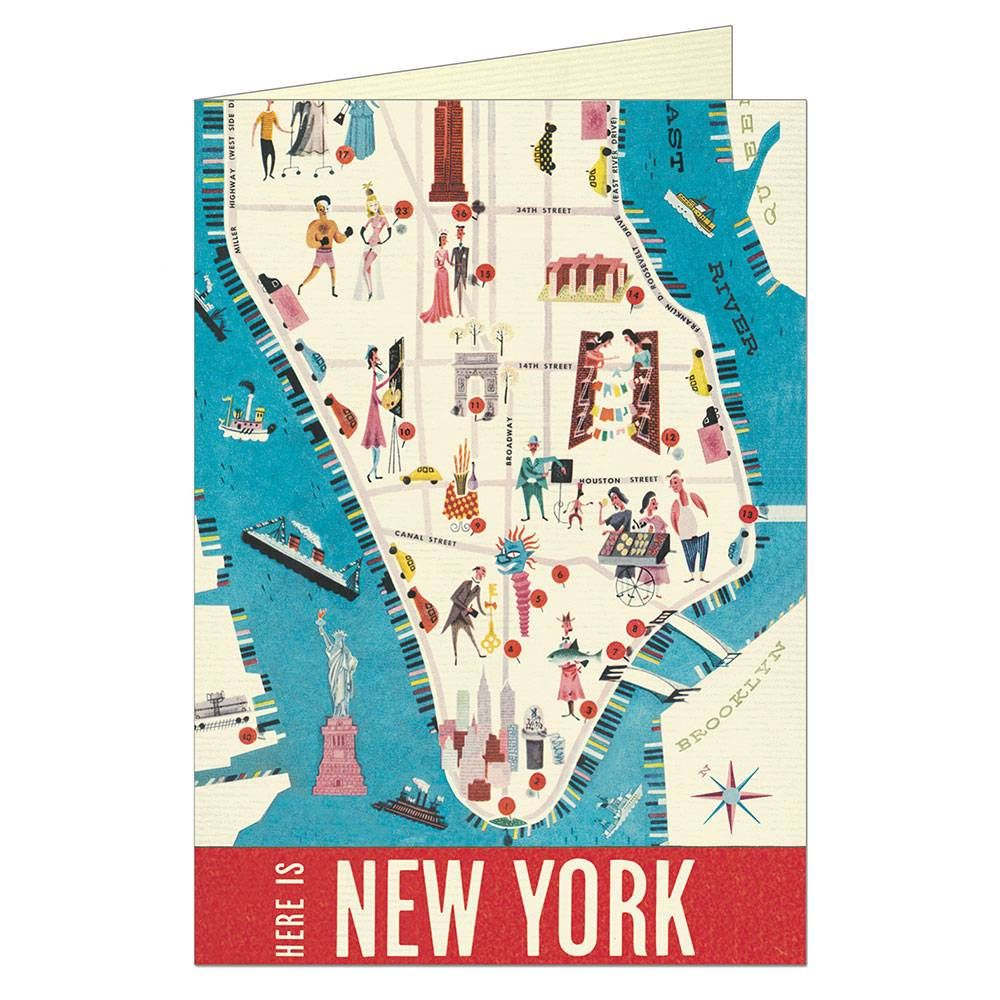 New York Map Greeting Card Current Assortment Stationary
