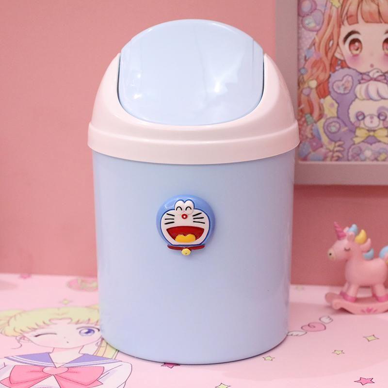 Countertop Trash Can Cartoon Mini Plastic Swing Lid Desk Trash Bin