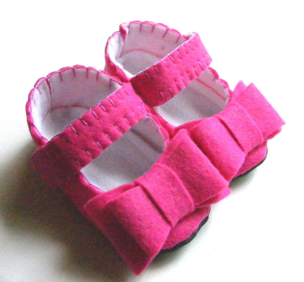 The Chloe in Hot Pink  Baby Shoes with by ShesSoCraftyGoods1, $29.50