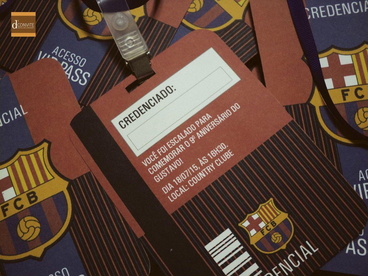 Convite Aniversário Credencial Barcelona Pinterest Fútbol
