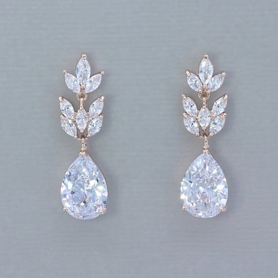 Rose Gold Bridal Earrings Rose Gold Earrings Crystal Wedding | Etsy