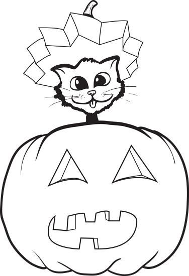 FREE Printable Halloween Cat and Pumpkin Coloring Page for Kids ...
