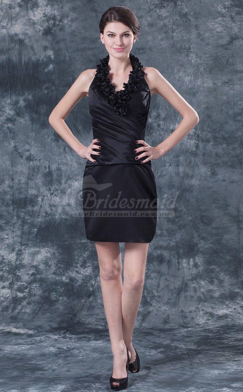 Little black dress for wedding party  Sheath Halter Short Wedding Guest Dress bridesmaid