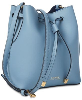 58e90cb879 Lauren Ralph Lauren Dryden Debby Ii Mini Leather Drawstring Bag - Field  Brown/Monarch Orange