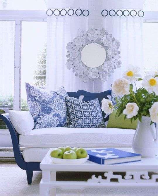 arredamento bianco e blu estate 2016 - soggiorno luminoso - Soggiorno Bianco E Blu
