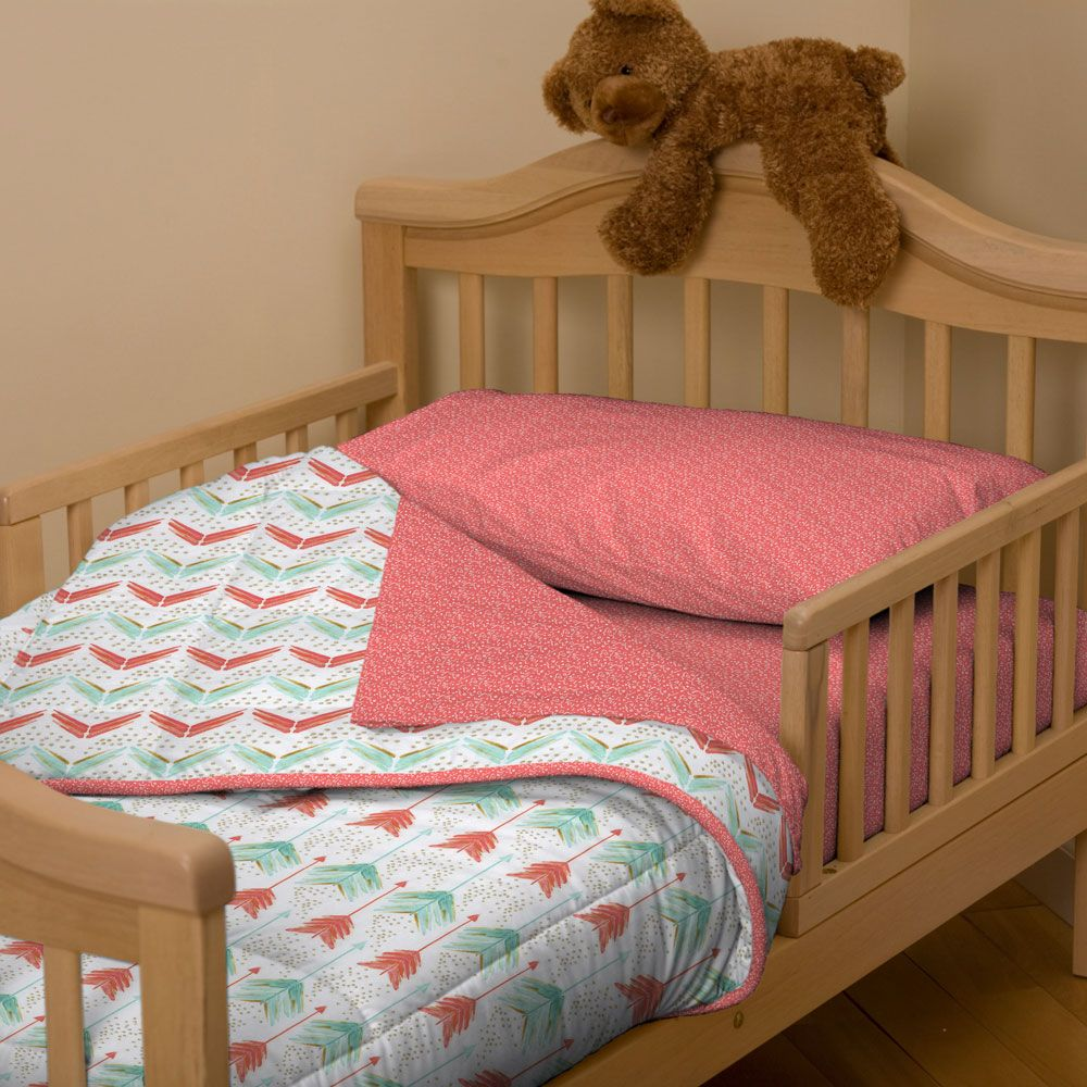 Coral And Teal Arrow Toddler Bedding With Images Toddler Bed