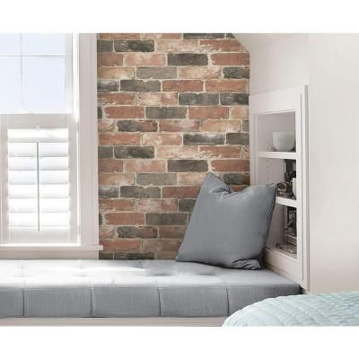 Washed Faux Brick Peel and Stick Wallpaper Home decor