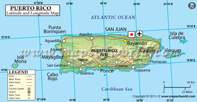 Puerto Rico latitude and longitude map showing comprehensive details ...