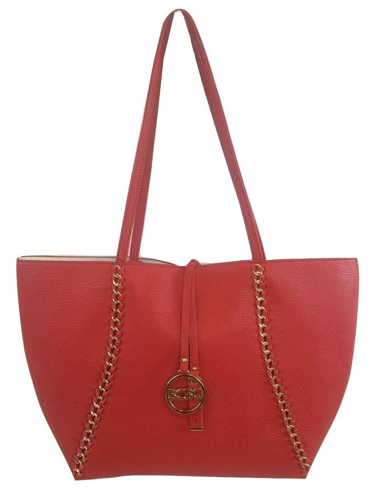 BCBG Paris Red/Off-White Reversible Chain-Trim Tote w/ Matching Crossbody Bag
