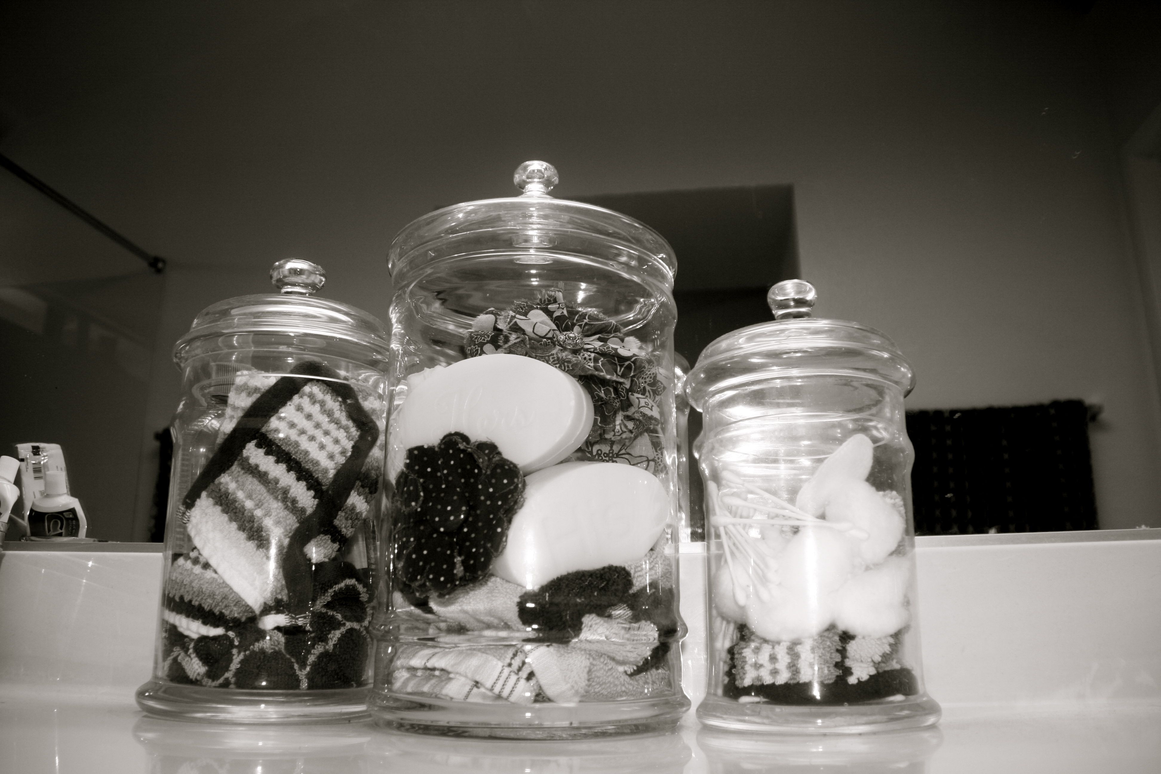 Apothecary jars filled with bathroom goodies! | Apothecary ...