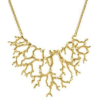 Plated Branch Bib Necklace