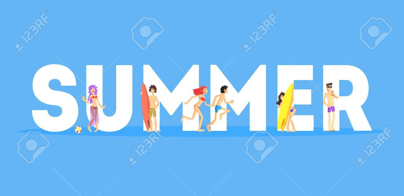 Summer Word And Happy People In Beachwear Standing Near Letters Vector Illustration Illustration Sponsored Happy P Summer Words Flash Logo Letter Vector