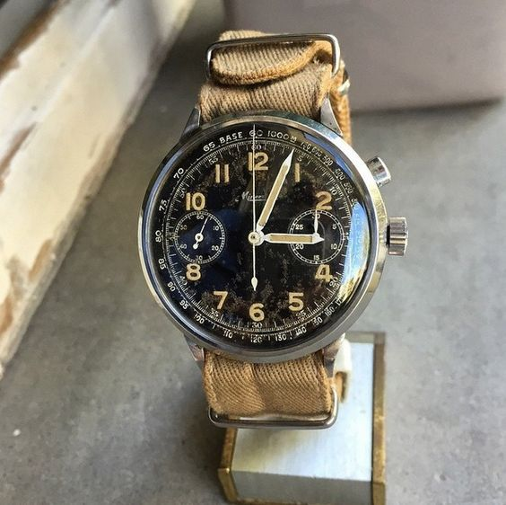 """thegildedrage: """" A ruggedly beautiful military monopusher Minerva chronograph from WWII. """""""