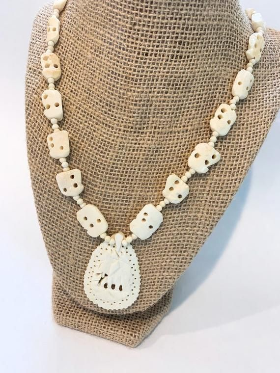 Carved Bone Necklace African Tribal Jewelry Elephant Pendant African Tribal Jewelry Tribal Jewelry Unique Earrings