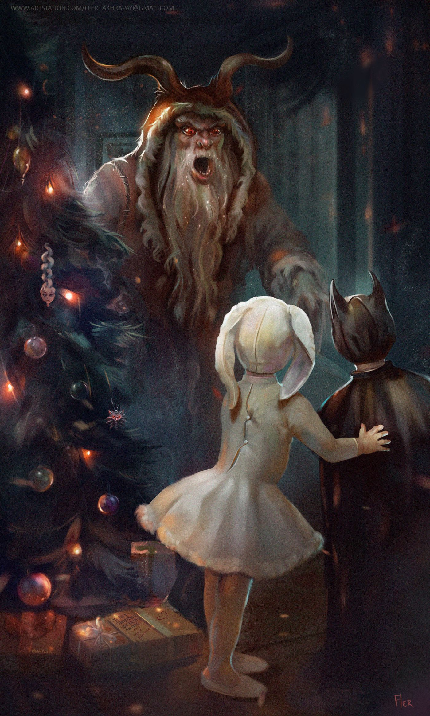 Krampus Krampus Abducts Children Christmas Illustration Christmas Art Children In Carnival Costumes Bo Holiday Illustrations New Year Art Creepy Christmas