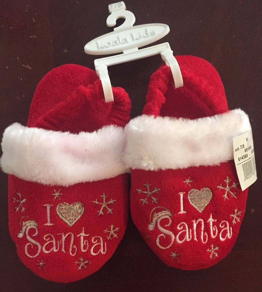 Christmas Slippers Kids I Heart Santa Red Plush 7/8 Toddler Love ...