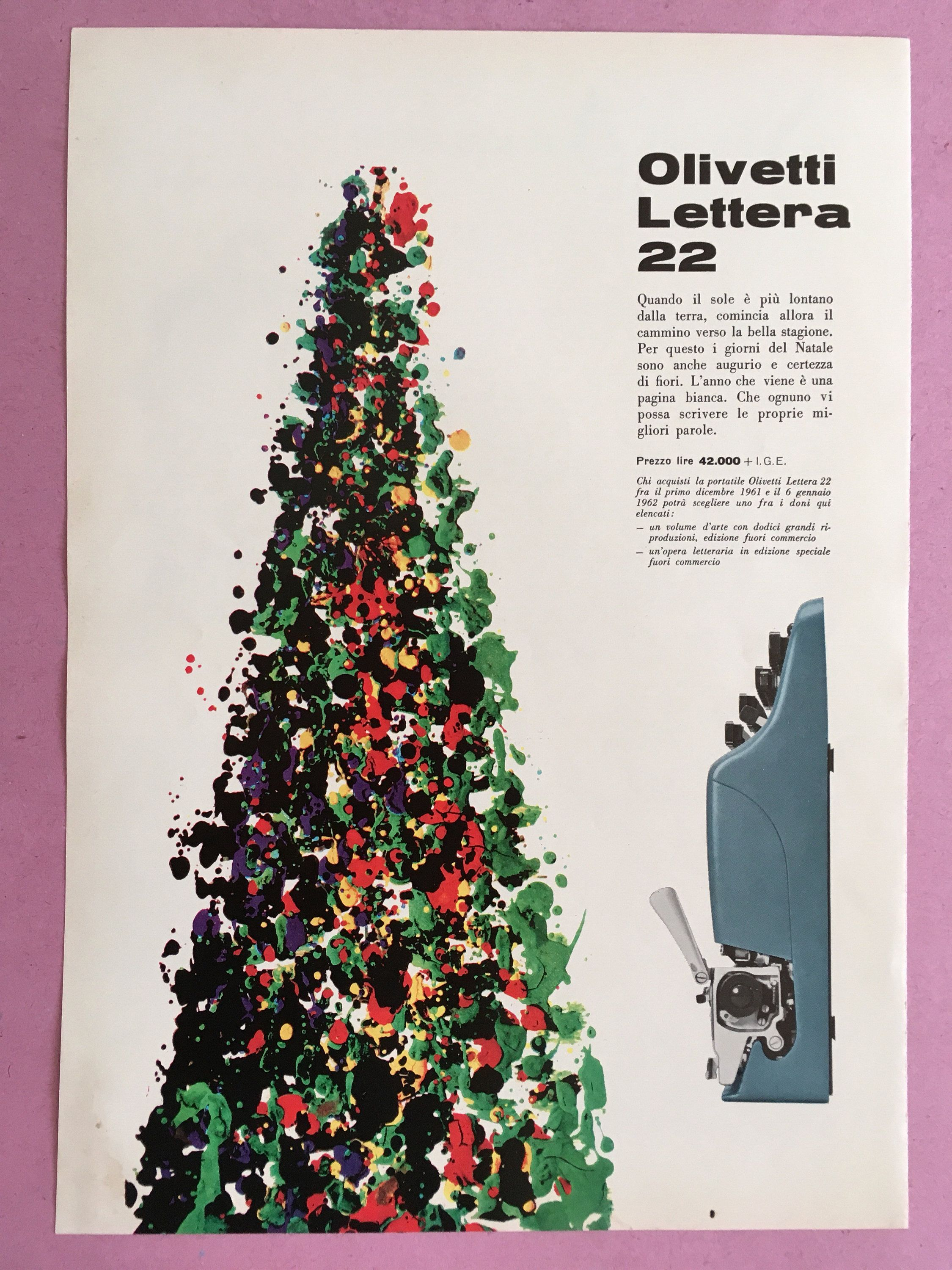 1961 Olivetti Lettera 22 vintage advertising for Christmas b7c8f703884