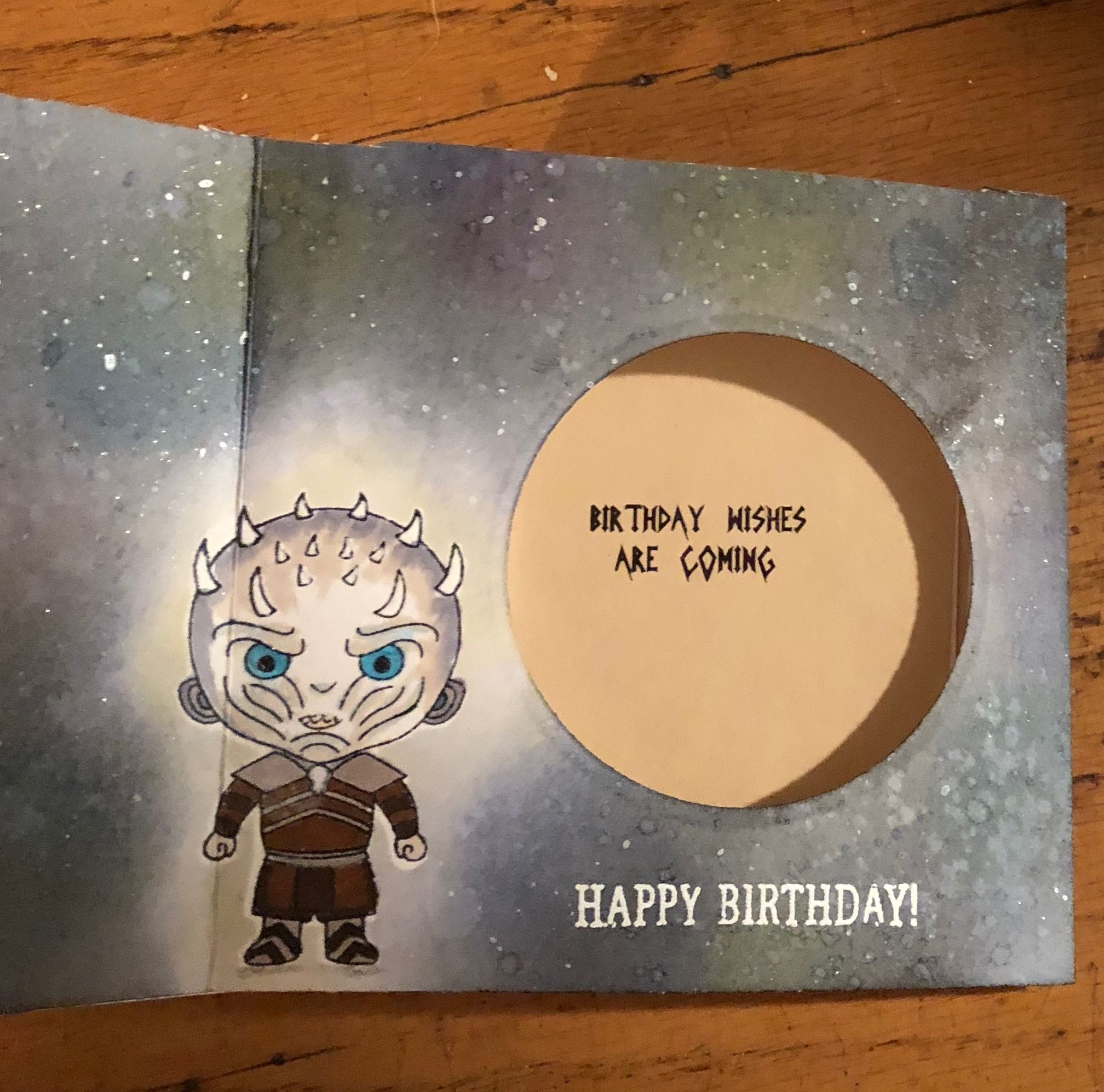 Inside Of Peek A Boo Card White Walker From Game Of Thrones Anniversary Cards For Boyfriend Anniversary Cards Cards