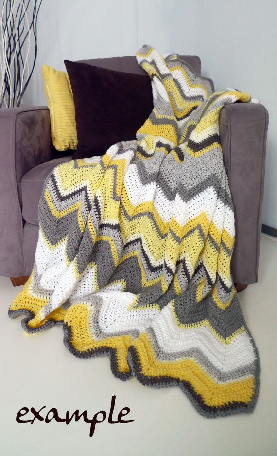MADE TO ORDER 1-2p afghan crochet chevron blanket | Wolldecke ...