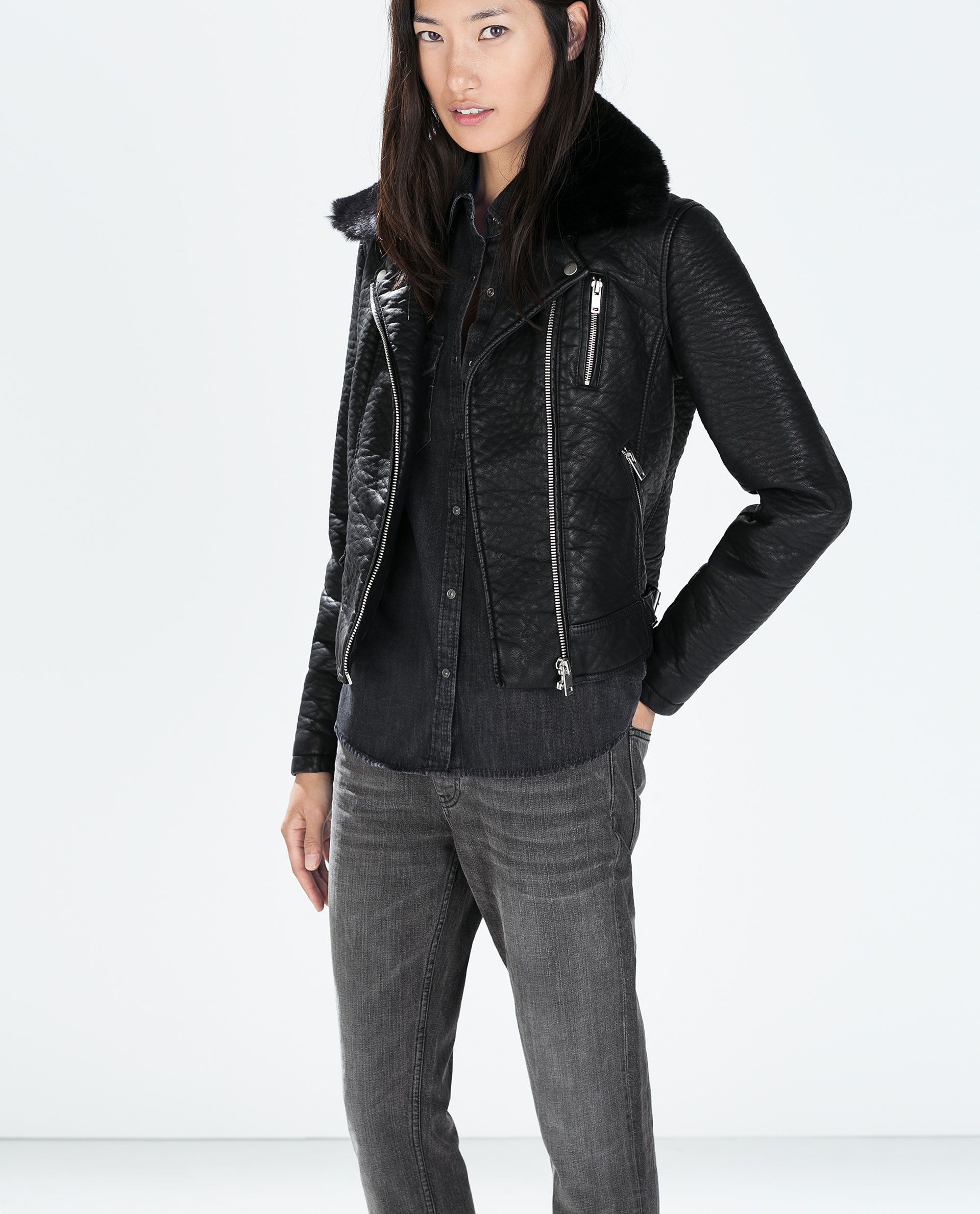 FAUX LEATHER JACKET WITH DETACHABLE FUR COLLAR . I need it